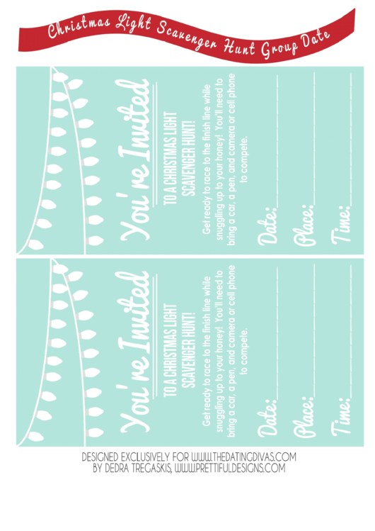 Scavenger Hunt Event Invitation Template - Light Blue Printable pdf