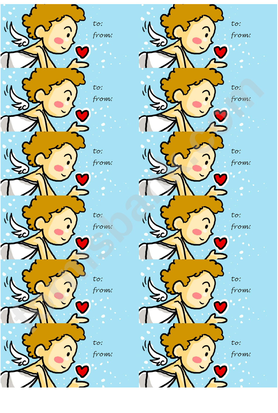 Cupid With Heart Valentines Day Gift Tag Template