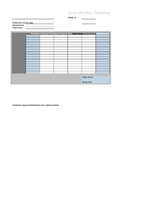 Semi-monthly Timesheet Template