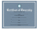 Certificate Of Ownership Template - Blue