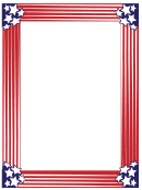 White Stars Red Stripes Patriotic Page Border Template