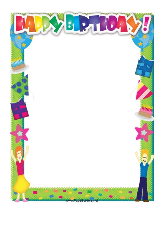Happy Birthday Border Printable pdf