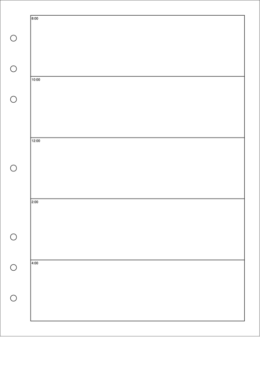Hourly Planner Template - Day On A Page - Left Printable pdf