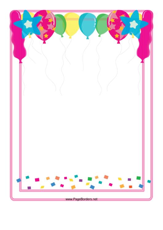 Balloon Border Printable pdf