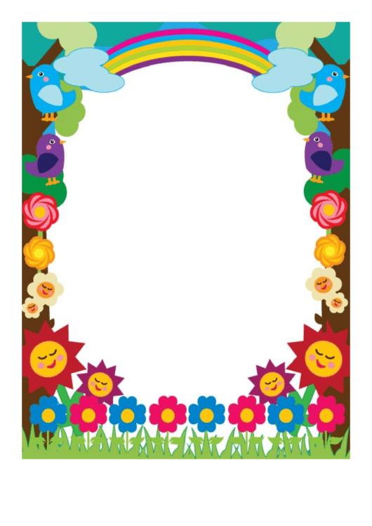 Flowers Rainbows Border Printable pdf