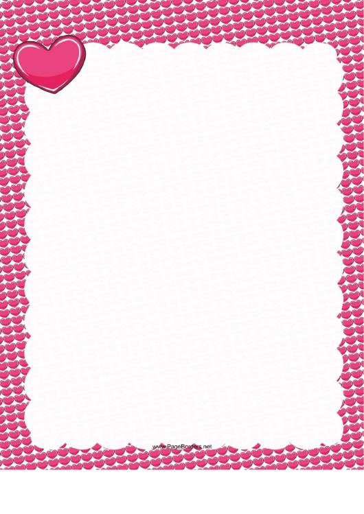 Pink Hearts Border Printable pdf