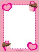 Pink Cupcakes And Hearts Border