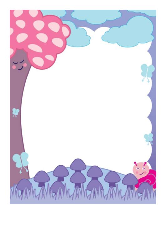 Mushrooms And Clouds Border Printable pdf