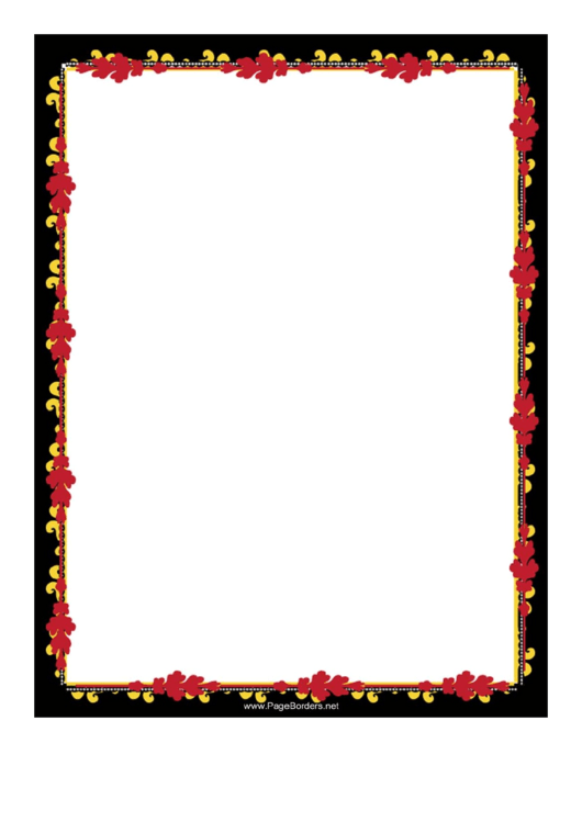 Red And Gold Garland Border Printable pdf