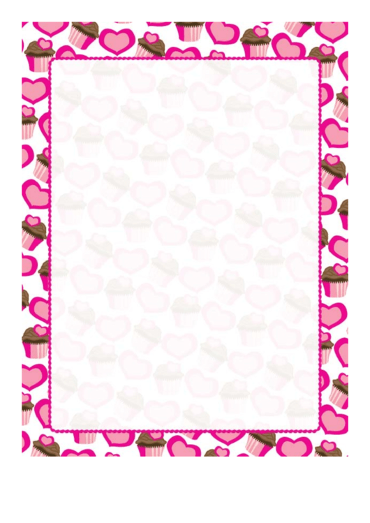 Scalloped Hearts And Cupcakes Border Printable pdf