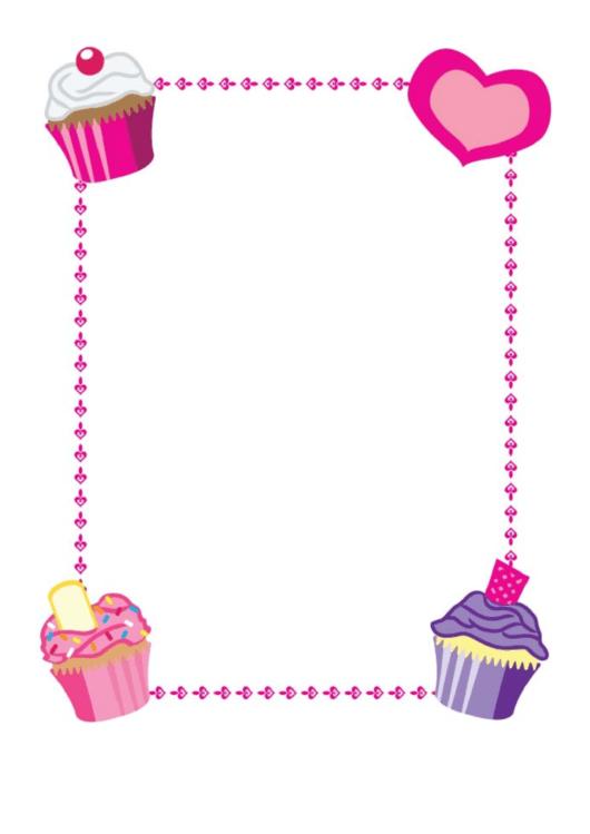Corner Cupcakes Border Printable pdf