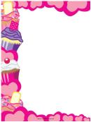 Cupcakes Pink Hearts Border
