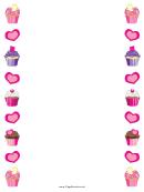 Hearts And Cupcakes Border