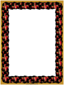 Crossed Red Gold Black Flags Border