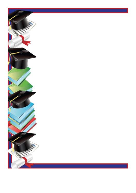 Mortarboards Diplomas Border Printable pdf