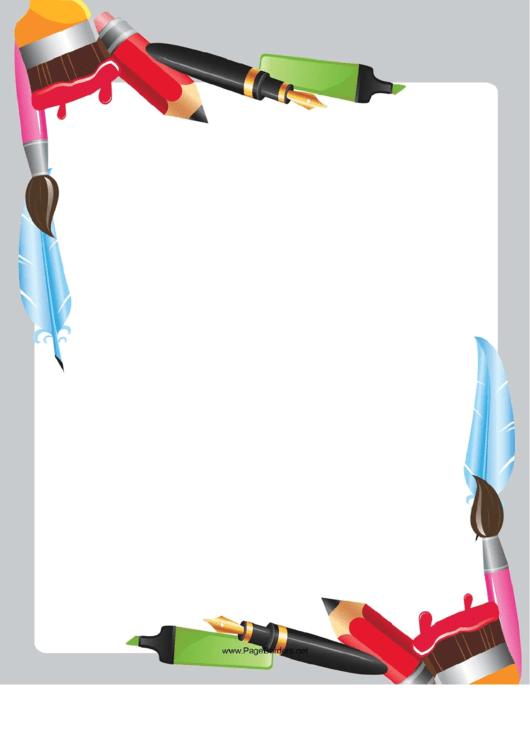Cute Writing Utensil Border Printable pdf