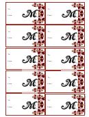 Monogram M Script Gift Tag Template