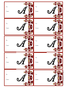 Monogram A Script Gift Tag Template