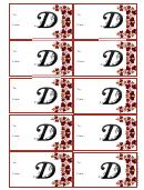 Monogram D Script Gift Tag Template