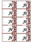 Monogram H Script Gift Tag Template