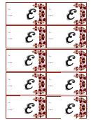Monogram E Script Gift Tag Template