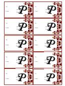 Monogram P Script Gift Tag Template