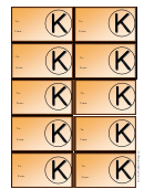 Monogram K Gift Tag Template