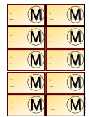 Monogram M Gift Tag Template