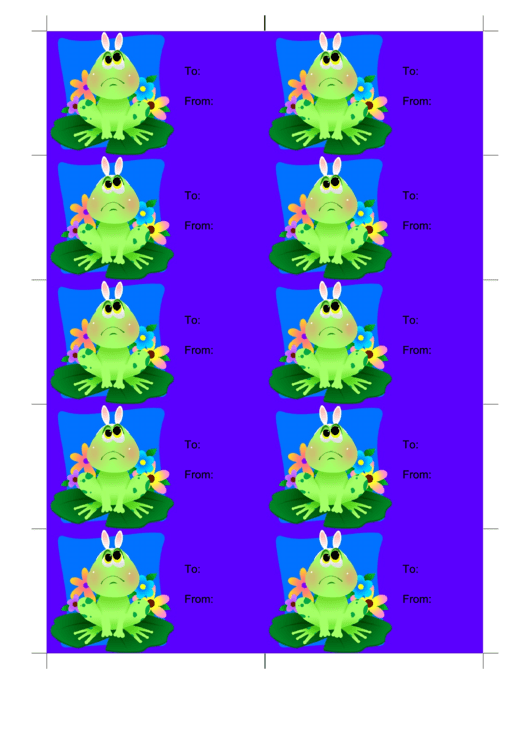 Easter Frog On Blue Gift Tag Template Printable pdf