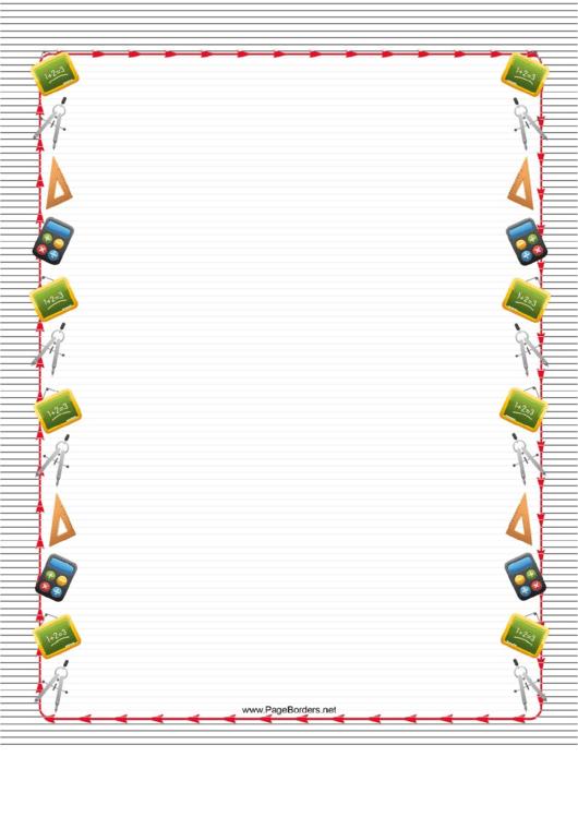 Striped Math Border Printable pdf