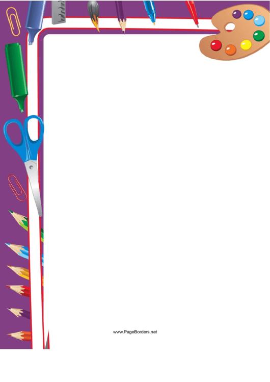 Purple School Supplies Border Printable pdf