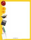 Yellow School Supplies Border