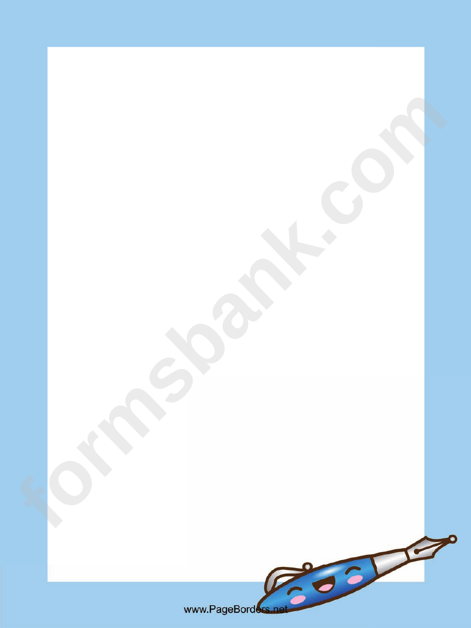 Blue Pen Page Border Template