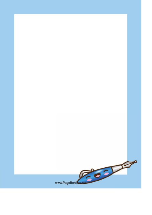 Blue Pen Page Border Template Printable pdf