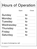 Hours Of Operation Sign Template