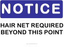 Hair Net Required Sign