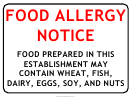 Food Allergy Warning Sign Template