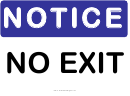 No Exit Warning Sign Template