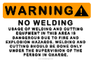 No Welding Warning Sign Template