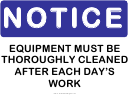 Clean Equipment Warning Sign Template
