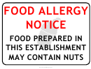 Food Allergy Notice Warning Sign Template