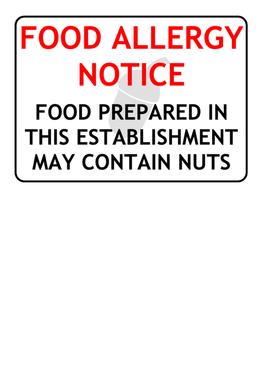 food allergy notice warning sign template printable pdf