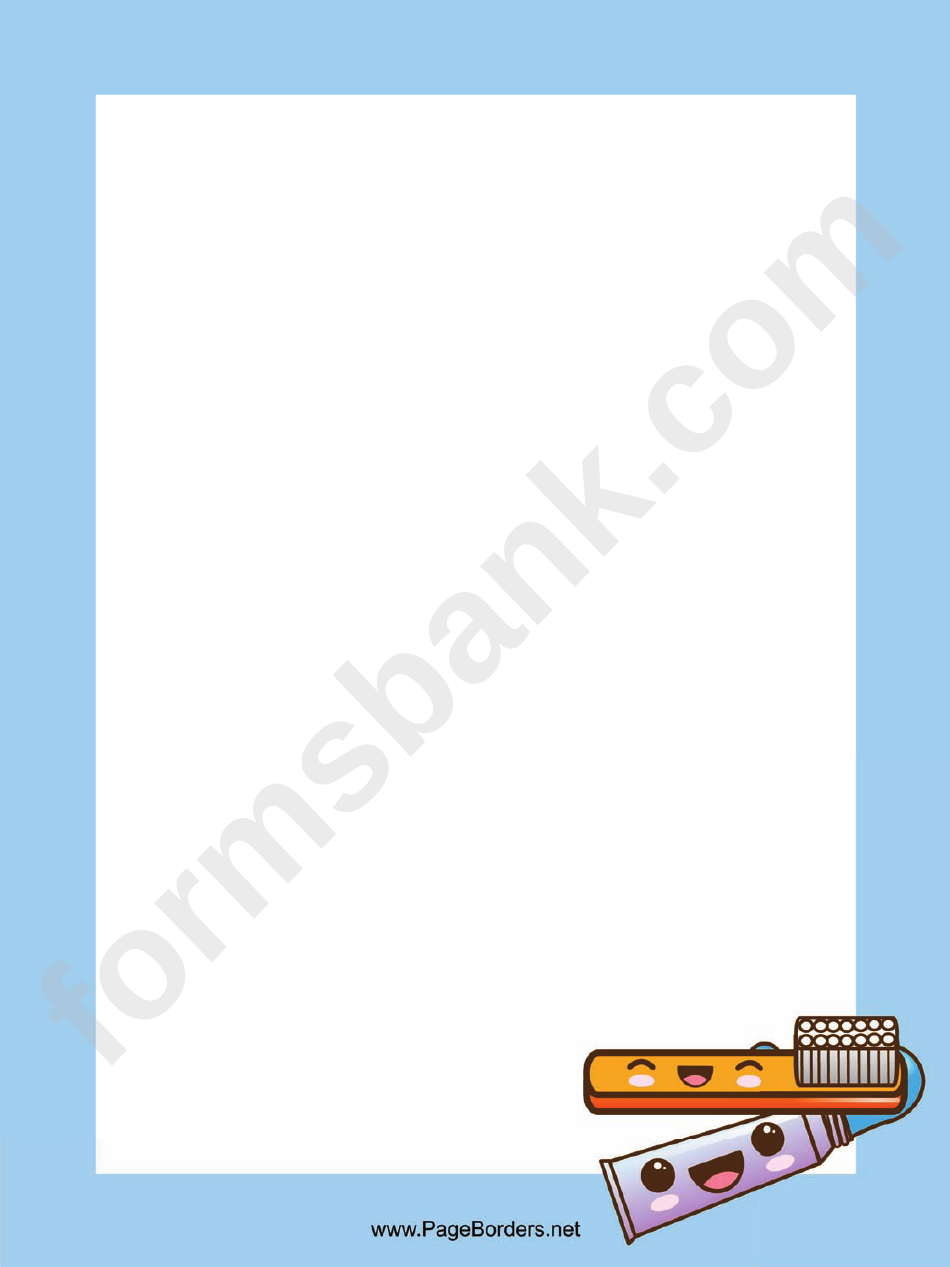 Toothbrush Page Border Templates