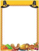 Thanksgiving Pilgrim Hats Page Border Template