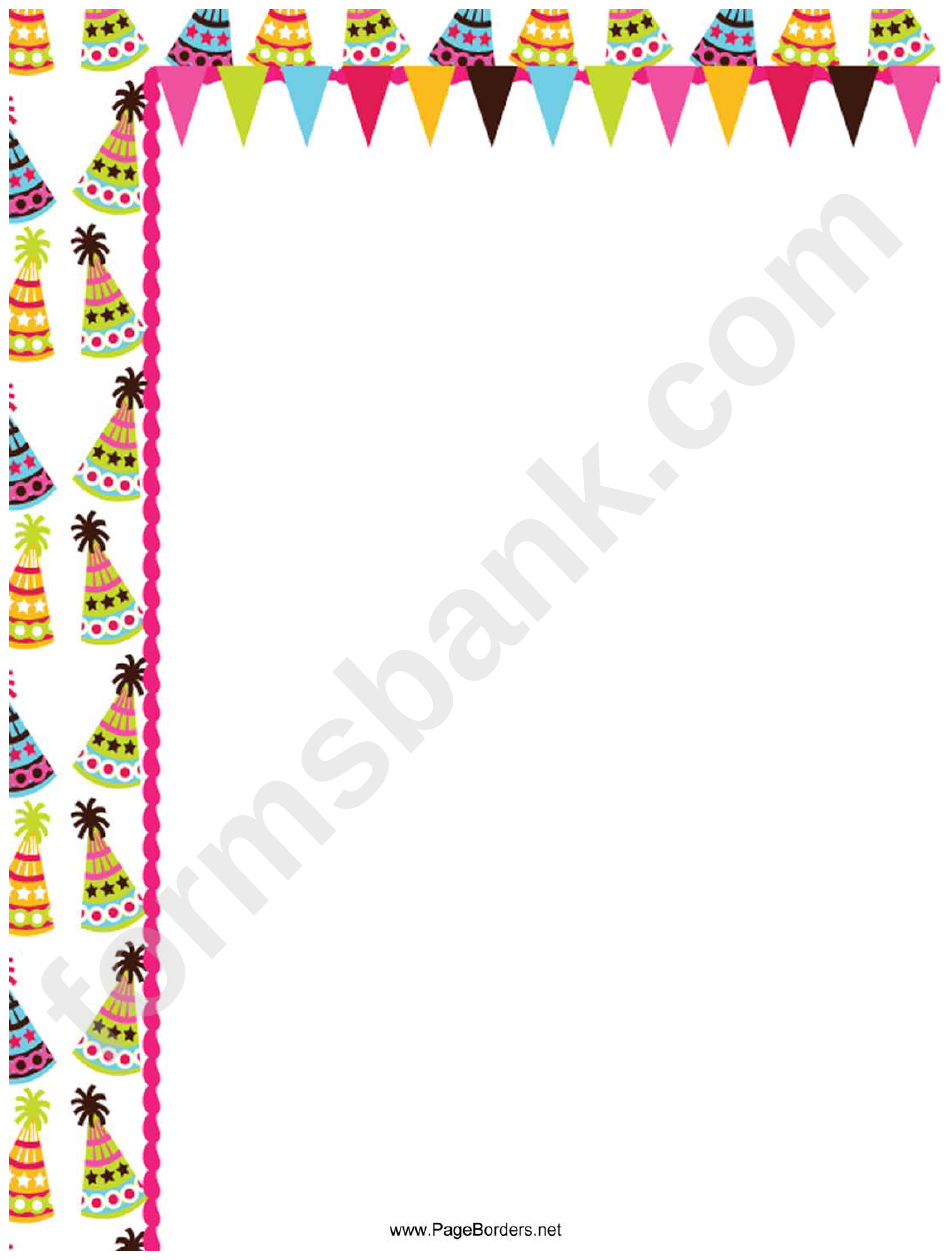 Party Hats Page Border Templates