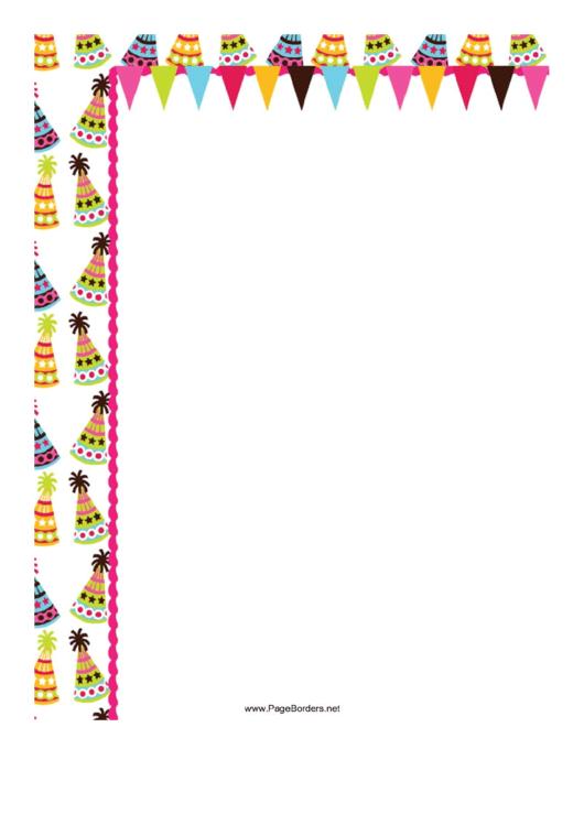 Party Hats Page Border Templates Printable pdf
