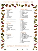 Thanksgiving Printable Shopping List Template