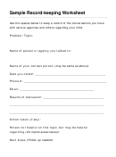 Sample Record-keeping Worksheet Template