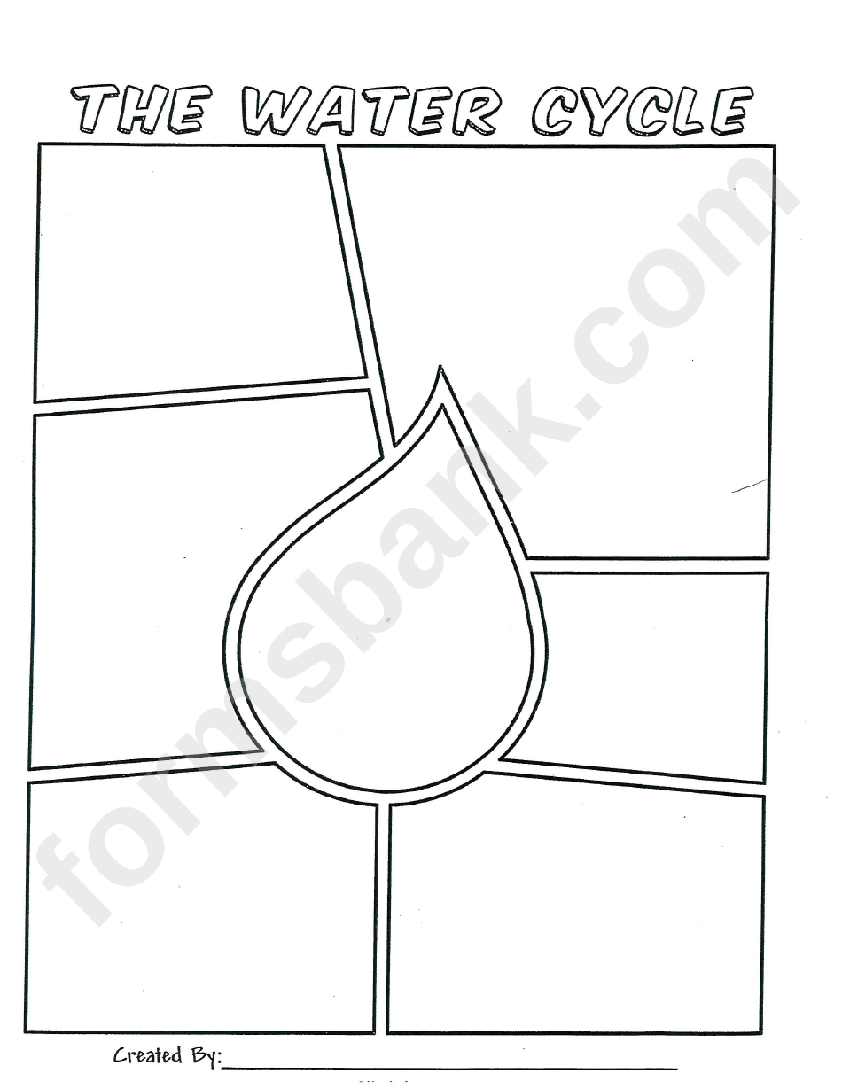 The Water Cycle - Coloring Sheet Template (raindrop) printable pdf ...