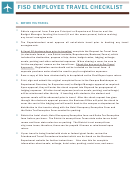 Fisd Employee Travel Checklist Template